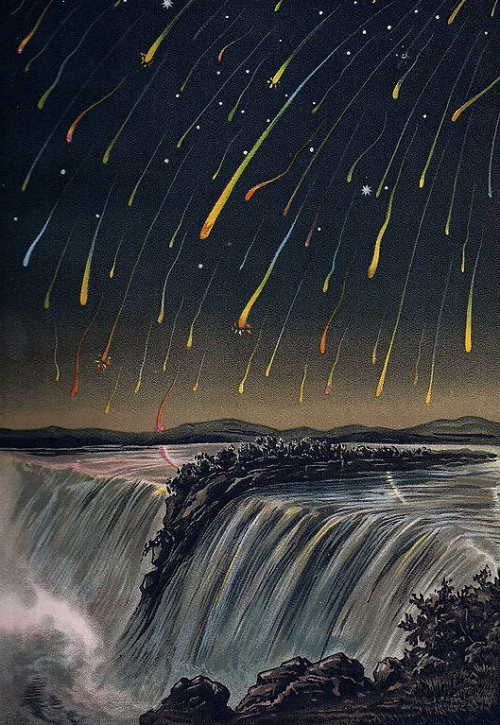 Painting of a meteor storm